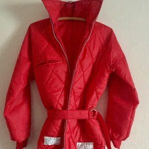 Vintage Red Puffer Jacket/ Rain Coat